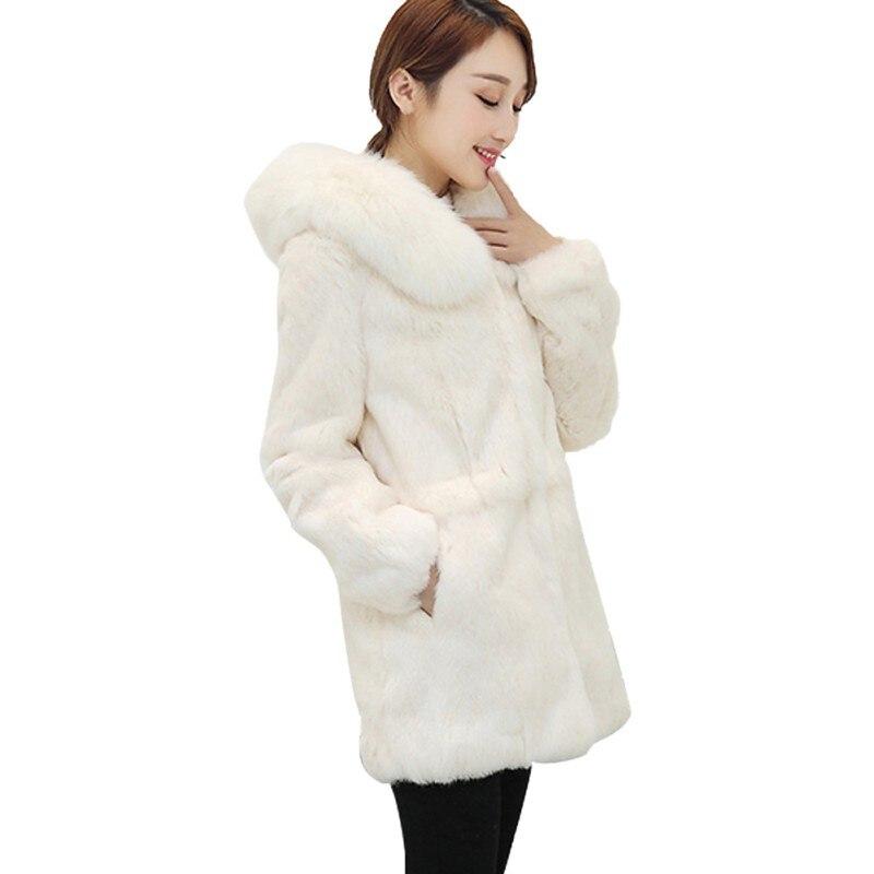 Moda Vintage abrigo Faux largo Fur Coat invierno mujeres 2018 otoño rrPqFR7v