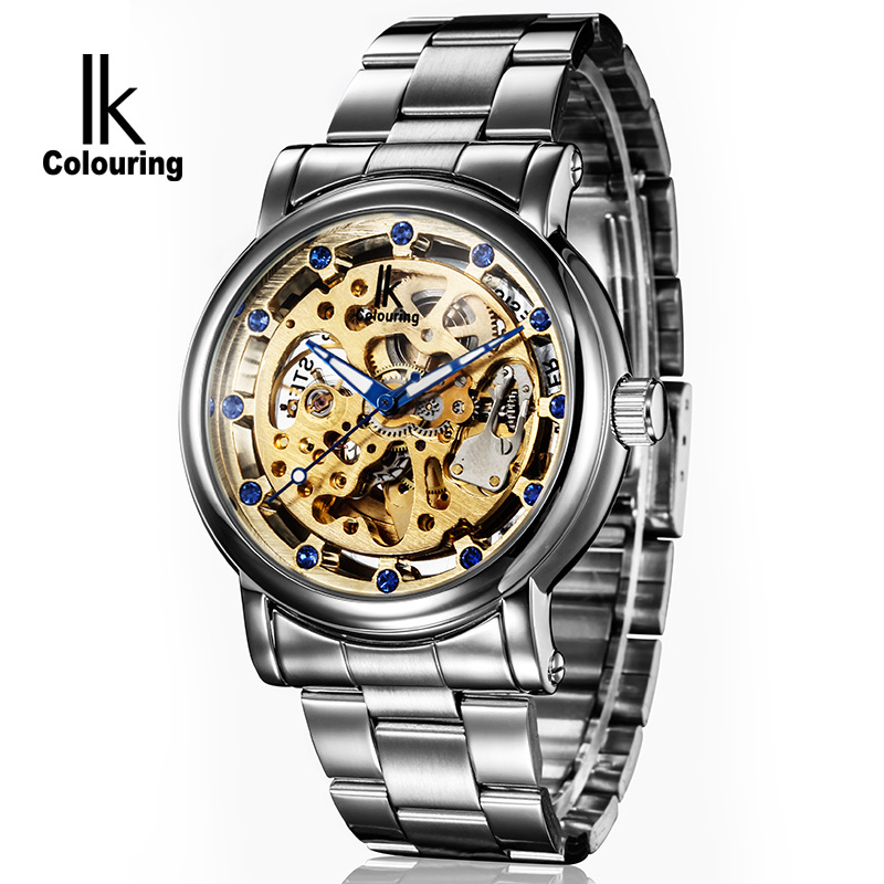 ФОТО fashion skeleton automatic mechanical watches mens stainless steel waterproof male clocks wristwatches horloges mannen