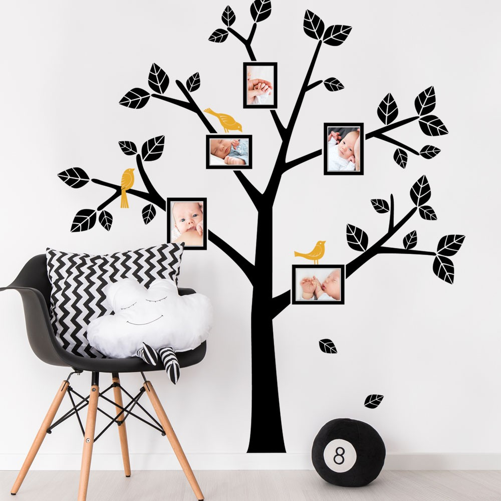 Tree wall decals large personalized family tree decal vinyl wall decal - Family Tree With Birds Wall Decals Personalized Vinyl Wall Stickers Home Decor Living Room Large Tree