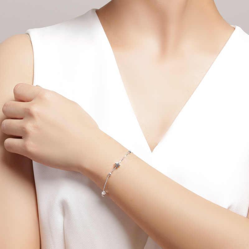SA SILVERAGE 925 Sterling Silver Star Charm สร้อยข้อมือและกำไลสำหรับสตรี 925 เงินผู้หญิงสร้อยข้อมือโซ่เงินสร้อยข้อมือสร้อยข้อมือ