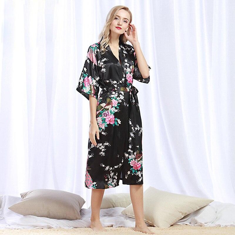 NINGMI Women Silk Robe Pajamas Satin Kimono Sleepwear Bath Gown Sexy Bathrobe Peignoir Femme Wedding Bride Bridesmaid SPA Robes