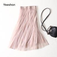 Yeeshan Summer Tulle Skirt Women Pink Long Lolita Volie Saia Mid Calf Faldas Maxi Women S