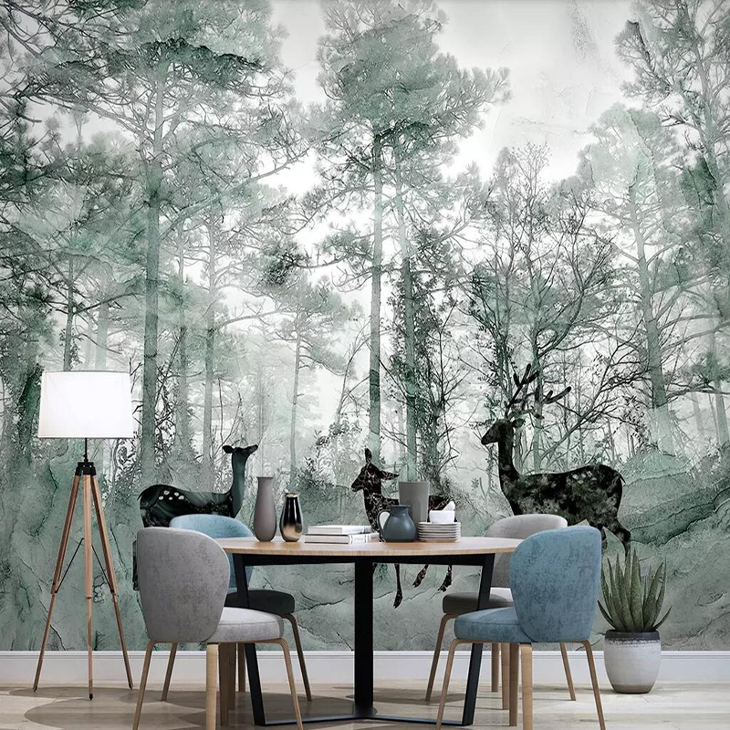 Decorative Wallpaper Nordic Forest Elk Dream Marbling Television Background Wall Fresco