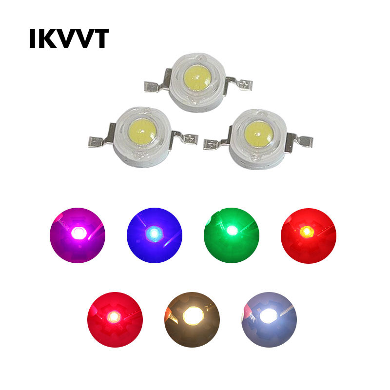 10Pcs High Power LED Chip  1W Warm White Red Green Blue Yellow Full Spectrum For LED Spotlight 260-350mA Lamp Light Beads Diode