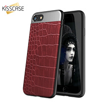 KISSCASE Metal + Leather Back Case For iPhone 6 6s 7 8 Plus Luxury Protective Cover For iPhone X 10 For iPhone 6 6s Plus  Coque protective plastic back case for iphone 6 plus deep blue