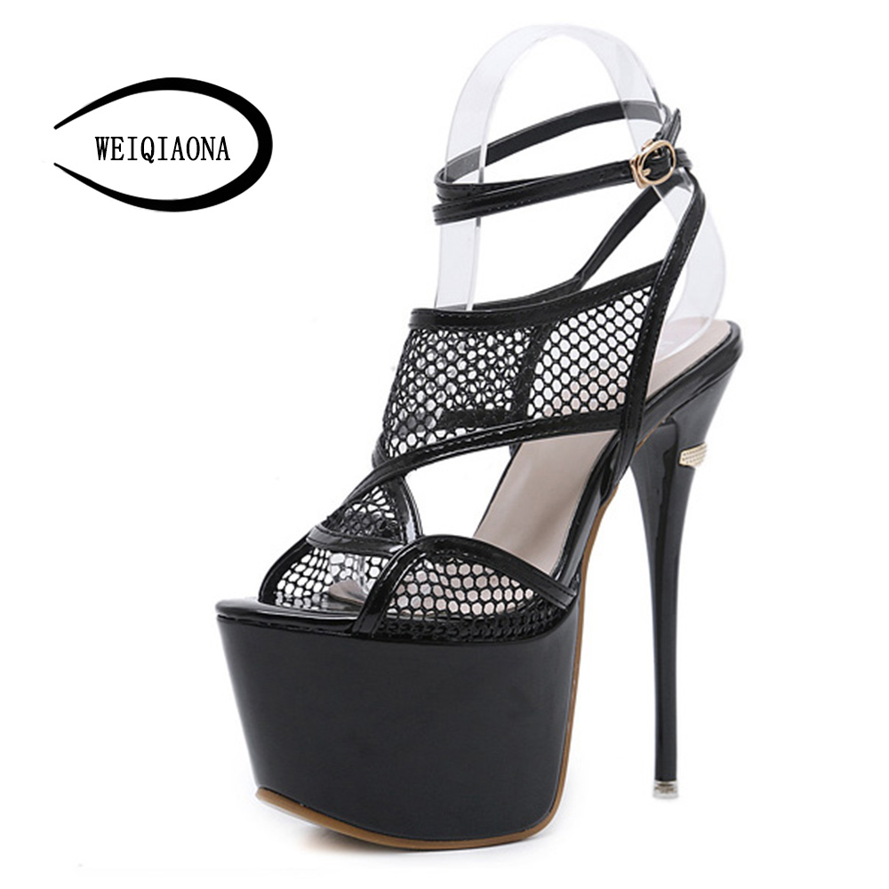 WEIQIAONA New Sexy Women Sandals Brand Designer Super High Heels Platfrom Open Toe Party Shoes Woman Nightclub Sandals Boots