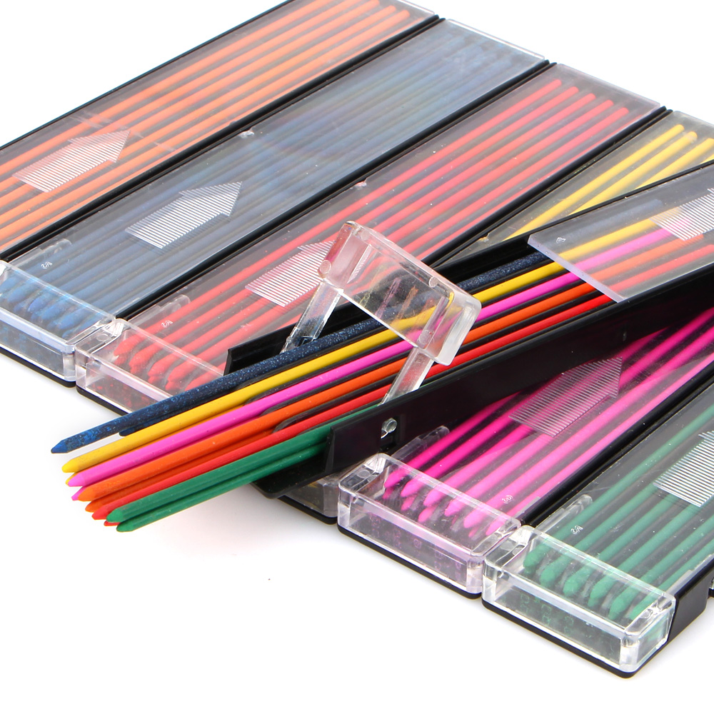 12pcs/box 2.0 mm Mechanical Pencil color lead Refill 12mm red pink yellow bule orange green color Drawing Colored