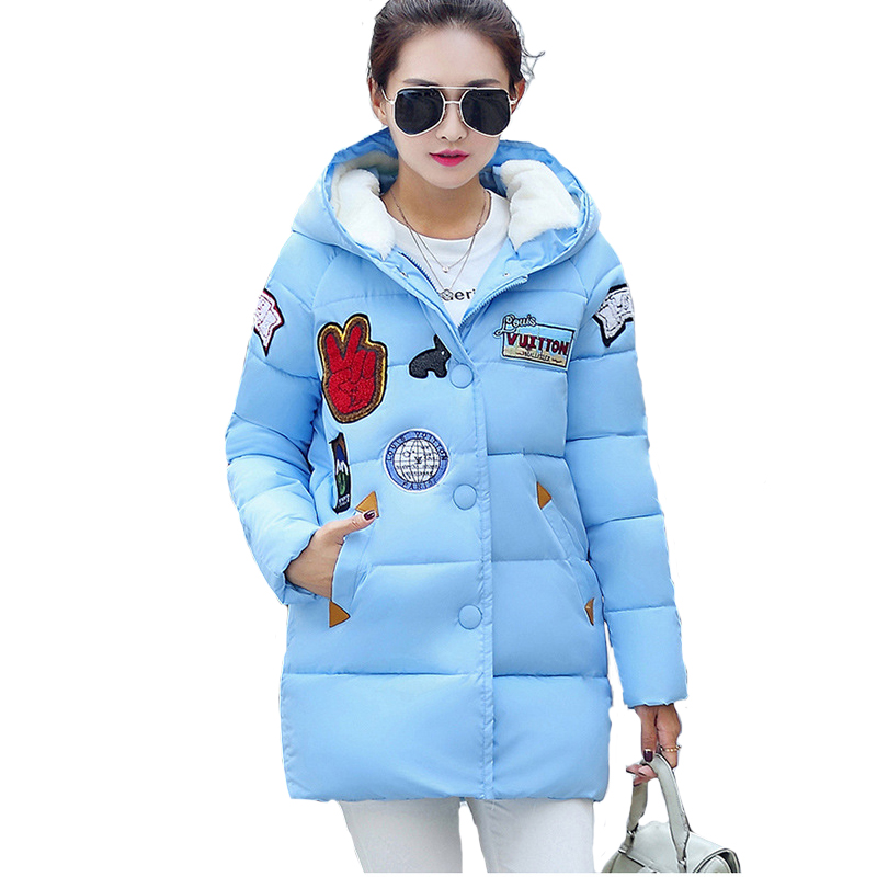 ФОТО 2017 New Winter Cotton Padded Fashion Warm Coat Women Down Cotton Jacket Long Thick Parkas Female Hooded Outerwear Plus Size