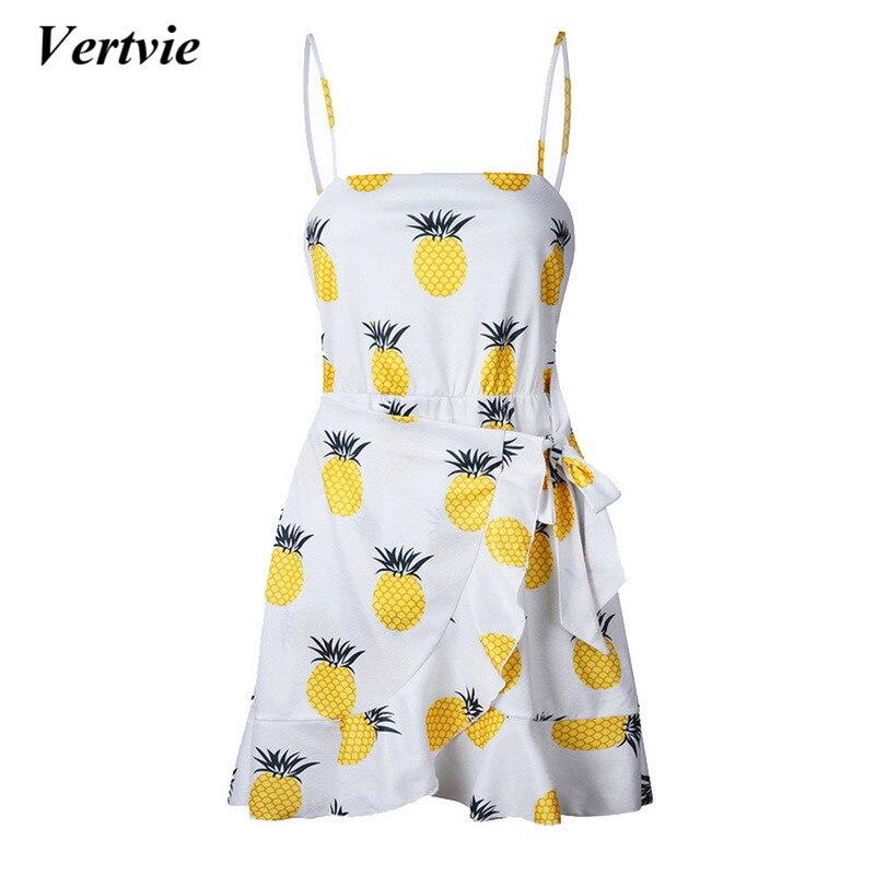 Swimming 2018 Sexy Pineapple Dot Print Bikini Beach Dress Women Backless Strap Bow Yellow Dresses Swimsuit Ruffle Skirt Beach Micro Dress