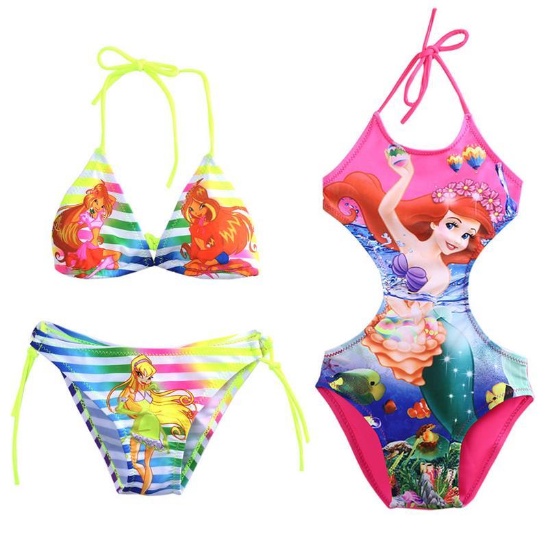 2017 Neue Kinder Baby Mädchen Druck Schönheit Mermaid Fancy Bademode Badeanzug Bikini Set Ein Stück Anzug Monokini Alter 2-10y