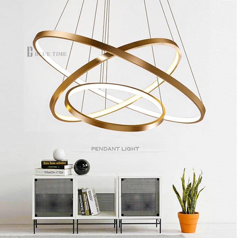 Or & noir & blanc moderne Led lustres 40 60 80 100 cm cercle Led plafond Lustre luminaire salon cuisine Lustre