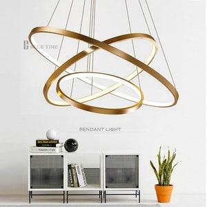 Image 2 - זהב & שחור & לבן מודרני Led נברשות 40 60 80 100cm מעגל Led תקרת נברשת תאורת סלון חדר מטבח זוהר