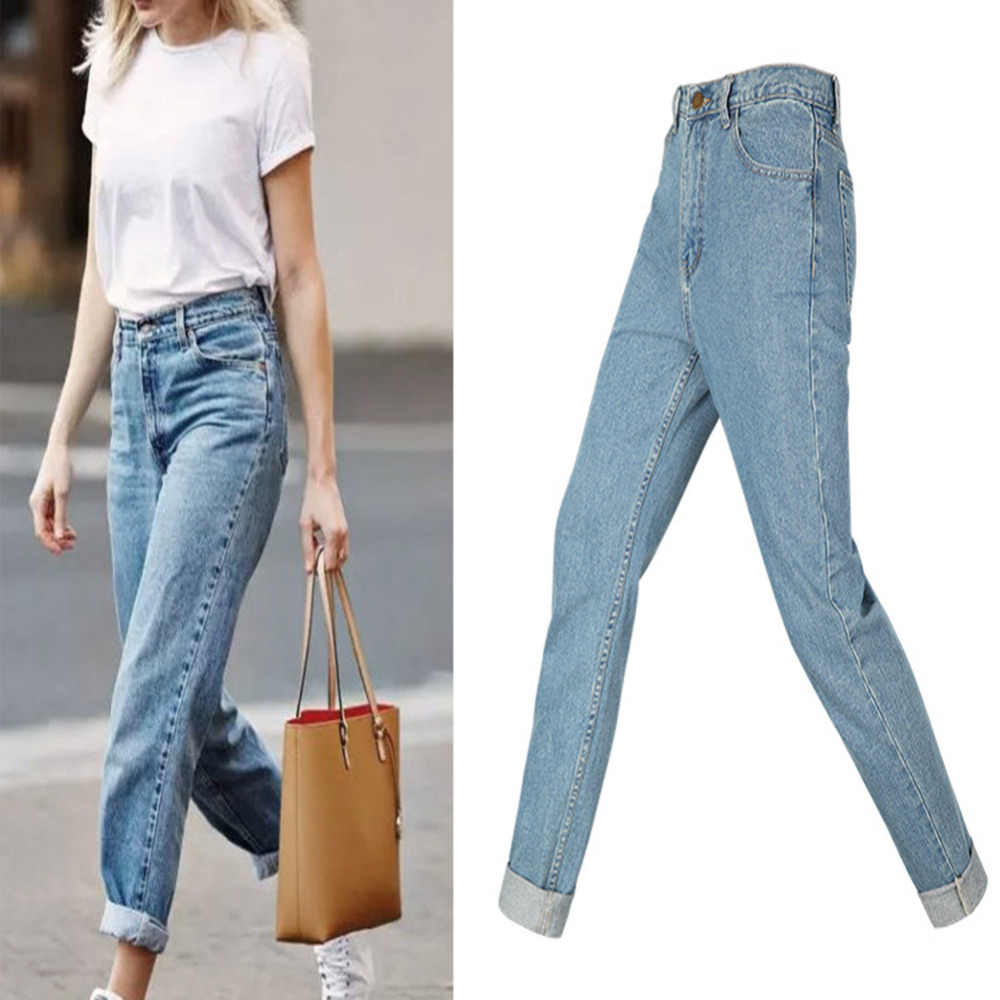 a647016495fb Women Casual Loose Boyfriend High Waist Retro Washed Relaxed Fit Straight  Jeans Light Blue Denim Pants-in Jeans from Women s Clothing on  Aliexpress.com ...
