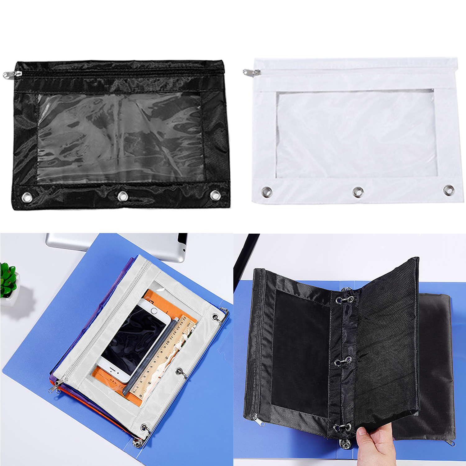 2PCS 3 Ring Holes Pencil Binder Pouches Bags Cases Pockets