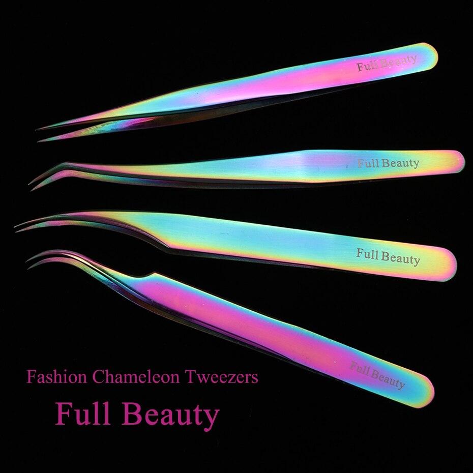 US $2 7  Full Beauty 1pc Eyebrow Tweezers Stainless Steel Chameleon Ultra  Precision Picker Tools for Rhinestone Eyelash Extension CHFB1 4-in Eyebrow