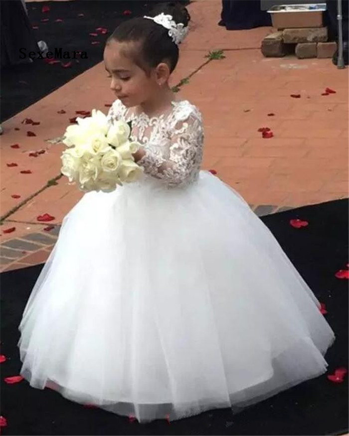 White Flower Girls Dresses 2018 Long Sleeve Lace Applique Scoop Neck Floor Length First Communion Dress Girl Dress For Wedding