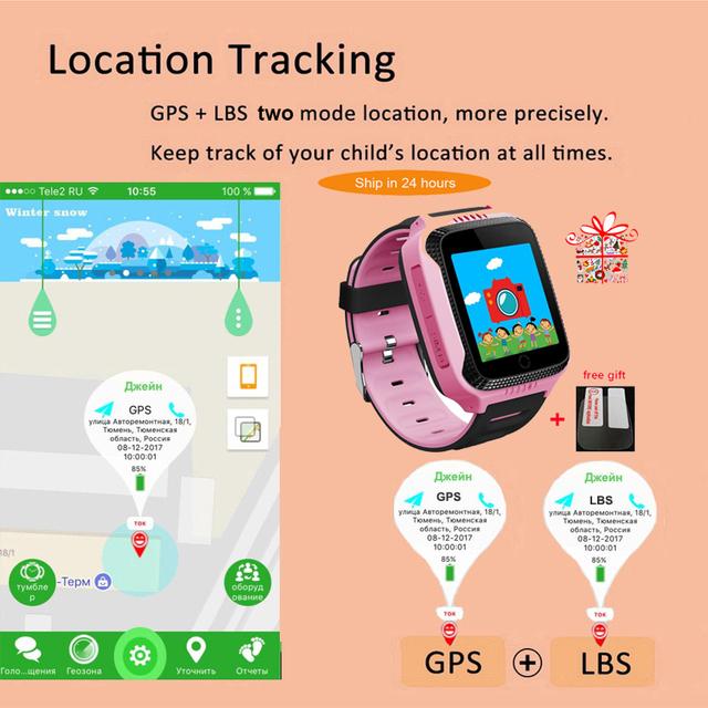 Q528 Kids GPS smart Watch with Camera Lighting Touch Screen Sim card clock phone Location SOS Call Monitor pk Q100 Q90 iosAndroi