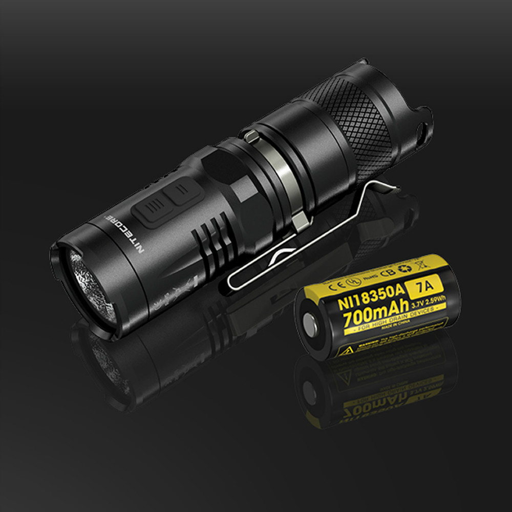 NITECORE MT10C Portable Tactical Flashlight CREE XM-L2 U2 LED 920 Lumens Red Light Illumination waterproof with IMR18350 Battery nitecore mt10a tactical flashlight edc cree xm l2 u2 920 lumens led mini torch with red white light by 14500 aa battery
