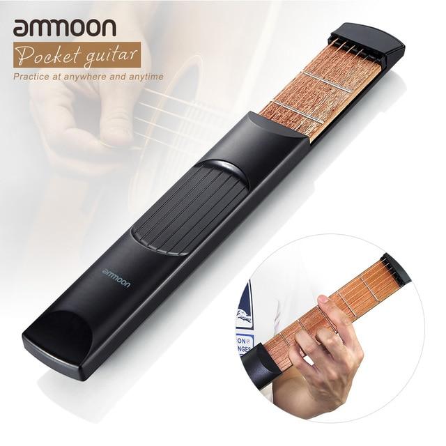 ammoon Pocket Guitar Portable Pocket Acoustic Guitar Practice Tool Gadget Chord Trainer 6 String 6 Fret Model for Beginner