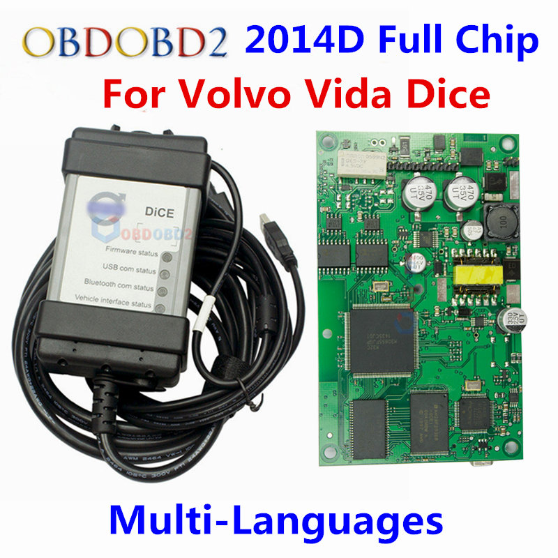 цены  Newest 2014D Full Chip Auto Diagnostic Tool For VOLVO Vida Dice For VOLVO Series Multi-Language With Excellent Green PCB Board