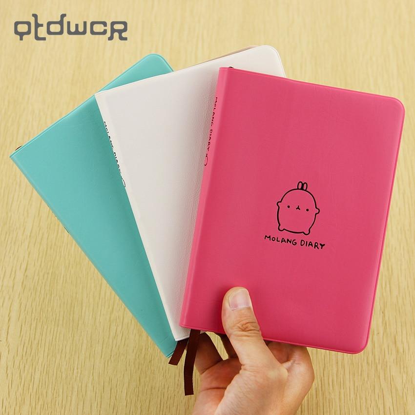 2017-2018 Cute Calendar Notebook Cartoon Molang Rabbit Diary Planner Notepad Agenda Scheduler Memo Office School Supplies japan imports midori planner calendar decorative stickers cute animal 5pcs