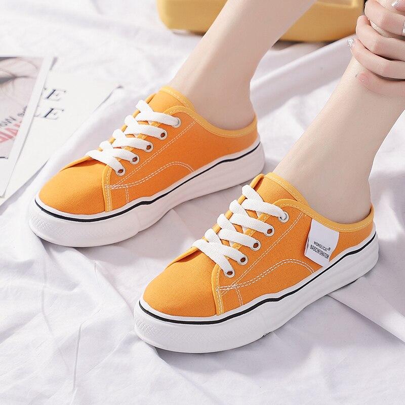 Un pied bouche peu profonde chaussures en toile orange femme niche marée été section mince respirant 2019 nouveaux étudiants coréens étudiant