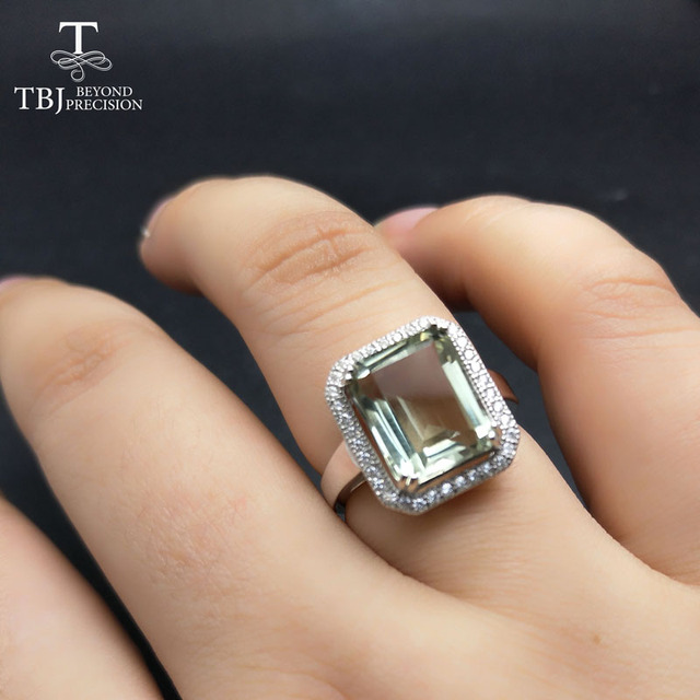 TBJ,Classic Ring with Nautral green amethyst oct 9*11mm gemstone rings in 925 st