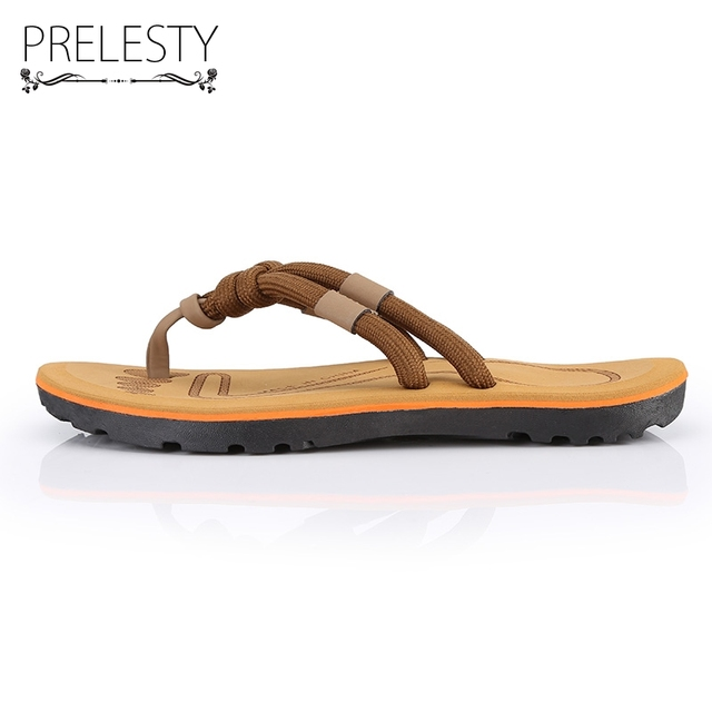 Prelesty Basic Weave Shoelace Belt Flip Flops Beach Summer Daily Casual Outdoor Comfortable Shoes Light Waterpool Slipper DS