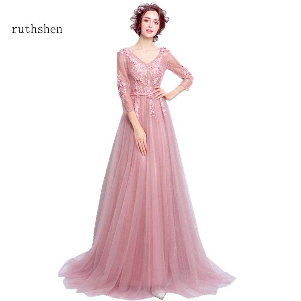 Discount Designer Evening Dresses: Ruthshen 2018 Floor Length Prom Dresses Cheap Luxury V