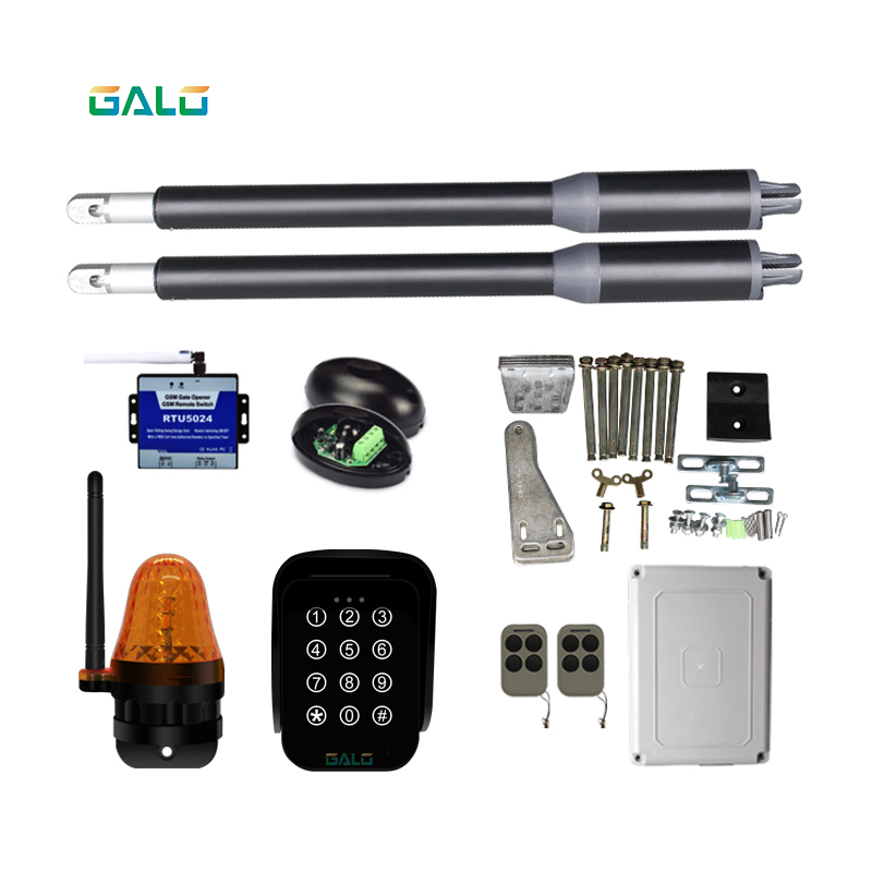 solar automatic swing gate opener motor dual arm opener operator linear actuators with remote controls Optional