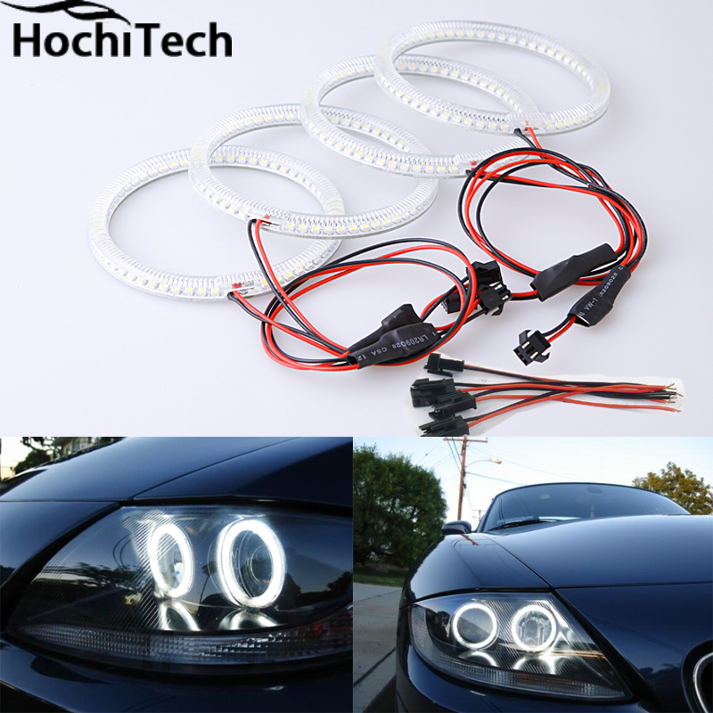 Excellent SMD 5050 LED white headlight halo angel demon eyes kit for bmw z4 E85 E86 2002 2003 2004 2005 2006 2007  2008 for mazda rx8 rx 8 2004 2008 excellent led angel eyes ultrabright illumination smd led angel eyes halo ring kit