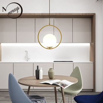 Simple circled iron glass pendant light LED E27 loft modern hanging lamp with 2 colors for parlor dining room lobby restaurant