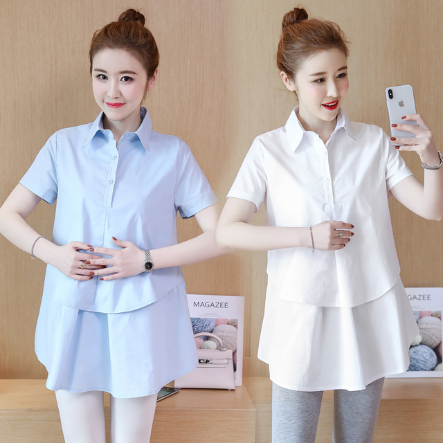 547ec5bfea1 Summer OL Style Cotton Maternity Blouses for Pregnant Women Maternity  Clothes Casual Pregnancy Shirt Mom Business Wear Top C254