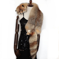 NGSG новый большой настоящий меховой шарф Red Fox из натурального меха утепленная длинная теплая шаль Женская зимняя обувь большой натуральный