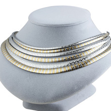 New Fashion Stainless Steel Silver Gold Chunky Collar Choker Necklace For Women Snake Chain Elegant Lady Trendy Jewelry (A1087) trendy never fade titanium steel snake chain choker necklace for women
