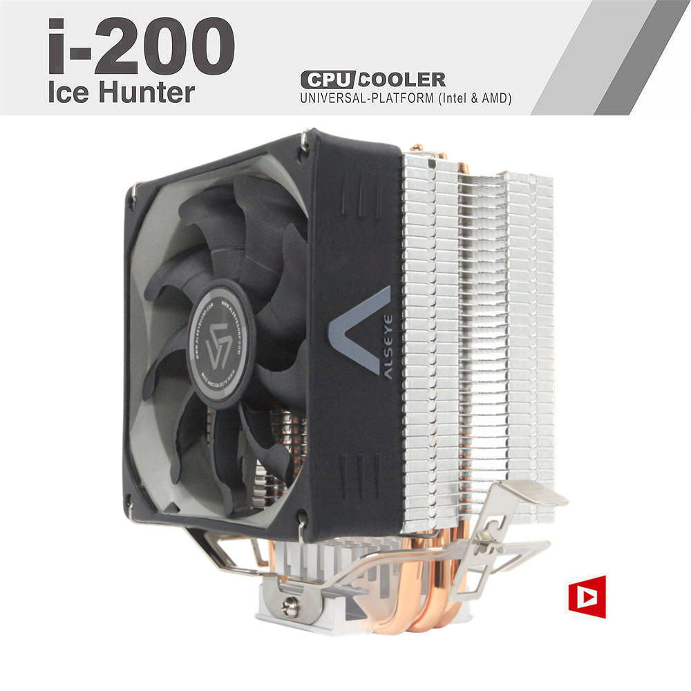 ALSEYE i-200 CPU Cooler 3 Heatpipes TDP 215W High Quality Processor Cooler with PWM 4 pin 90mm Cooling Fan Silent Cooler segotep t4 frost castle cooling system cpu cooler led lights 4 heatpipes 4 pin pwm 12mm fan 1800rpm for intel amd cpu pc case