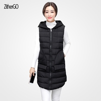 2017 Winter Ladies New Warm Jacket High Quality Solid Color Hooded Vest Woman In The Long