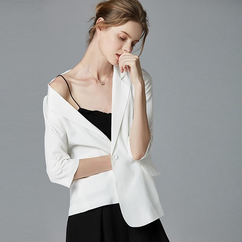 High Quality Blazers Women Suit 100% Silk Fabric Simple Design Three quarter Sleeve Single Button 2 Colors Suit New Fashion 2018