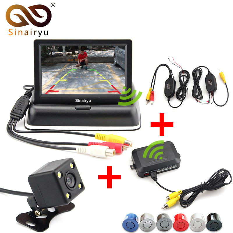 2.4 GHz Wireless Car Video Camera Monitor Parking Assistance Radar. Car Monitors+Wireless kit+Rearview Camera+parking Sensor sinairyu 3in1 car parking assistance sensor reversing radar video all in one system connect car monitor and rearview camera