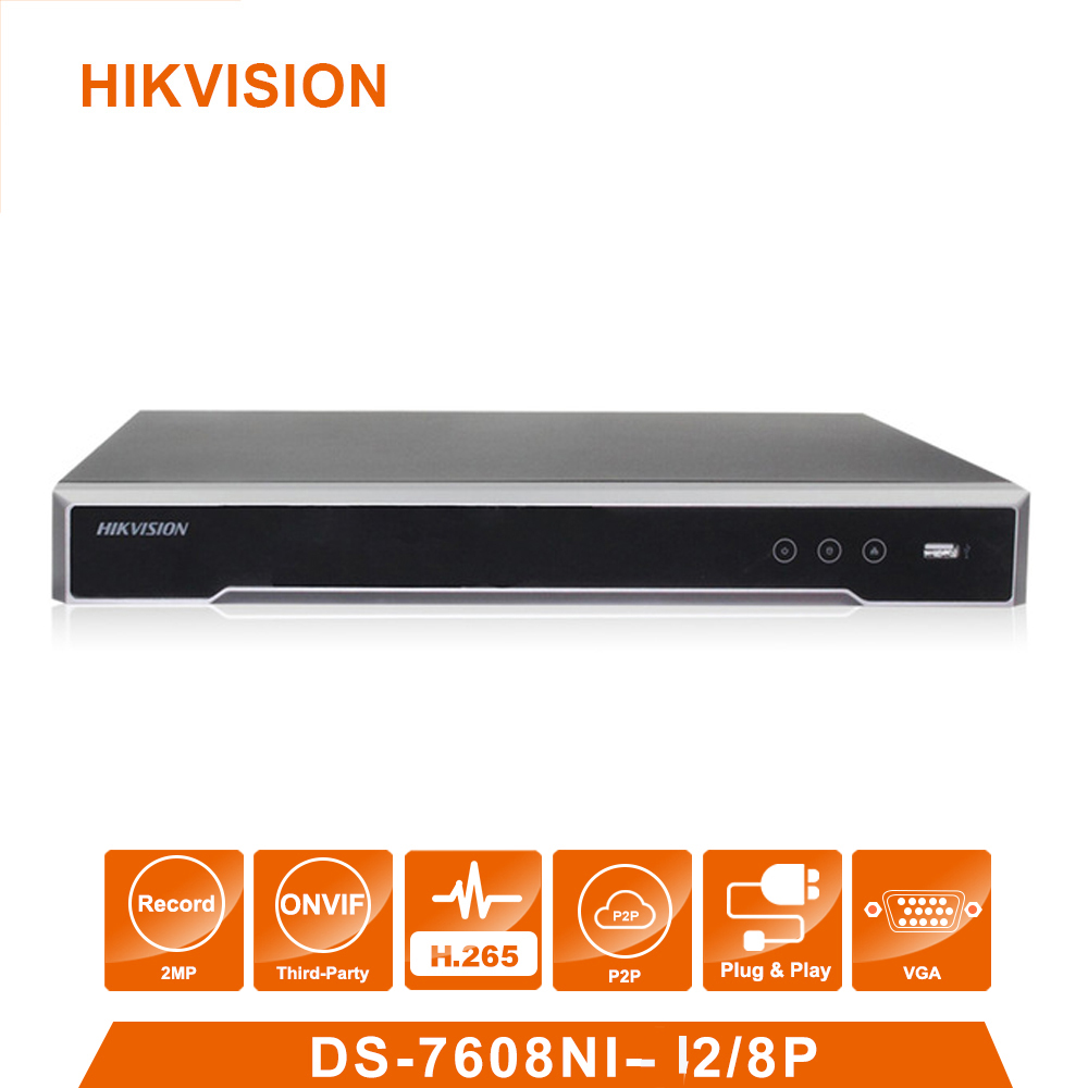 Original Hik vision English Version DS 7608NI I2/8P 8 POE ports 4K 8ch Cameras plug & play NVR POE 8ch H.265 up to 8MP