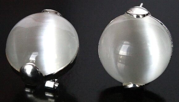 Mode de Femmes Naturel Clair Blanc Opale 925 Sterling Argent Boucles Doreilles