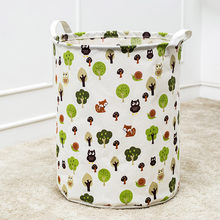 Cartoon Printed Storage Basket Waterproof Canvas Laundry Clothes Storage Basket Folding Storage Box Compressed Organizer Bag #Z(China)