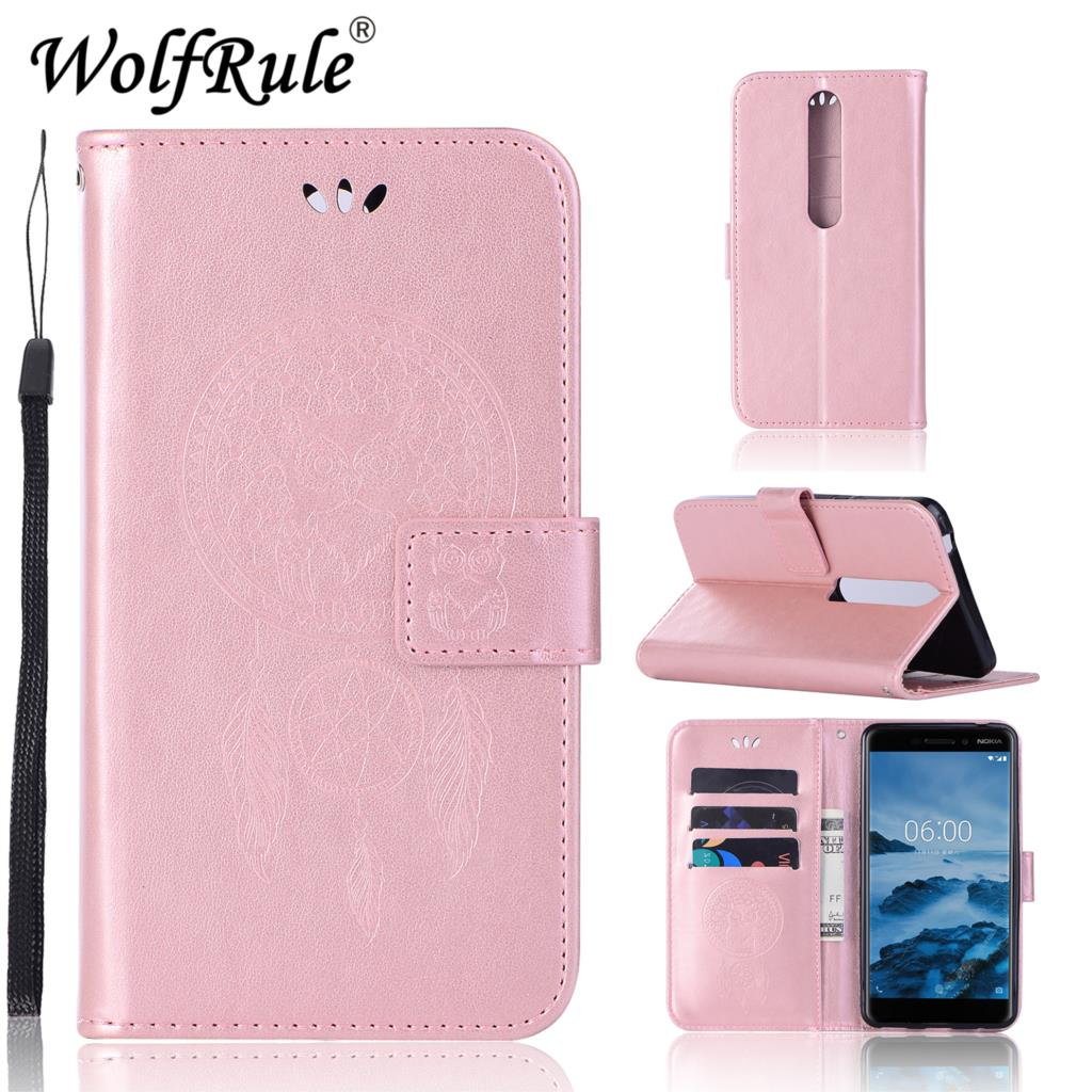 WolfRule For Cover Nokia 6.1 Case Flip Leather Case for Coque Nokia 6.1 Phone Bag Cover Case For Nokia 6 2018 Nokia 6.1 TA-1068