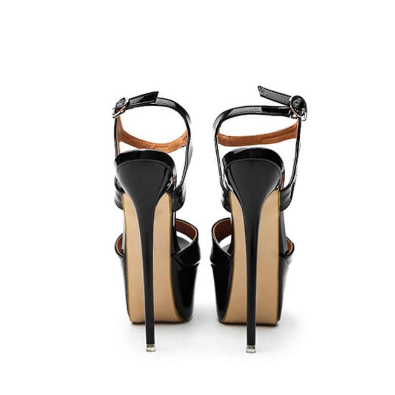 Seksi 16 cm yüksek topuklu sandalet Kadın Yaz Büyük Boyutu Stilettos Ayakkabı Kadın Açık Ayak PU Deri platform sandaletler Size41-46 WSH3264