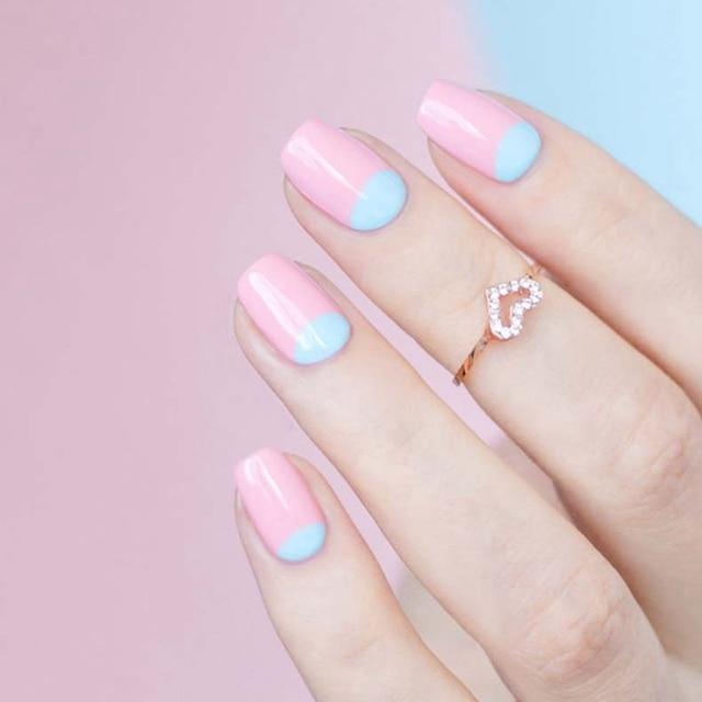 Pink Half Moon Elegant Wedding Nail Art Design Nail Gel Polish For
