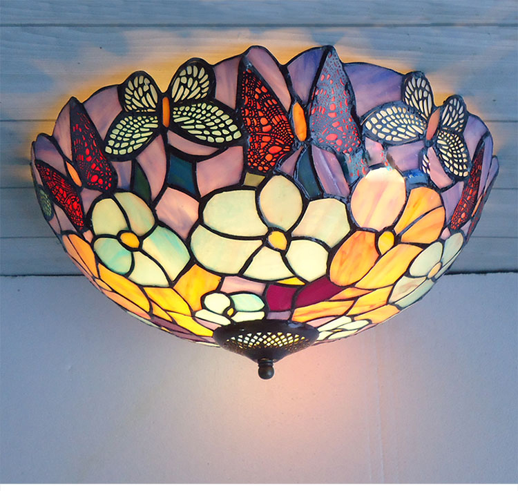 Mediterranean Sea stained glass tiffany European style Baroque lilac Ceiling lights 30 40 50cm LED bulbs lamp bedroom lighting mediterranean style tiffany shell ceiling lamp 20 25 30 35 40cm e27 ac 110 240v led ceiling lights luminarias light fixture