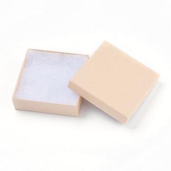 12 Uds paquetes de papel cajas de cartón para pulseras cuadradas Bisque 9x9x2,7 cm caja de almacenamiento para regalos, caja de almacenamiento para exhibición de joyas