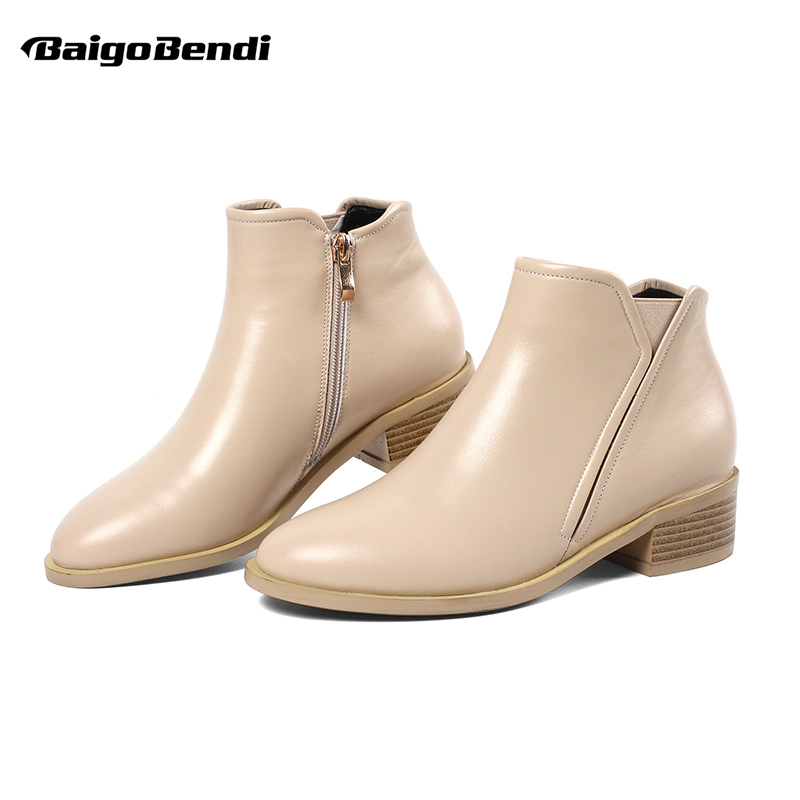 Big Size 41 42 43 Woman Low Heel Lether Ankle Boots Ladies Martin Zip Ankle Boots OL Elegant Winter Flat Boots PLUS 10 11
