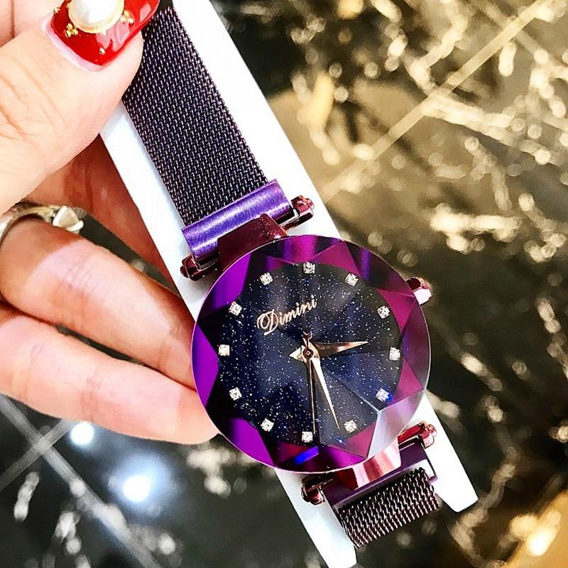 New Style Women Watches Fashion Women Creative Luxury Starry Quartz Watches Simple Magnet Stone Strap Clock zegarki damskie in Women 39 s Watches from Watches