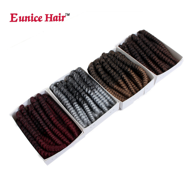 Eunice 10-20inch spring twist corchet braids hair extension ombre burgundy/gray/brown/613 thin synthetic braiding bouncy twist